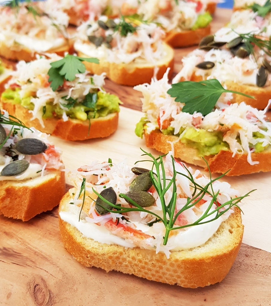 This image has an empty alt attribute; its file name is crab-and-creme-fraiche-crostini.jpg